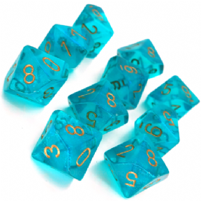 Teal & Gold Borealis D10 Ten Sided Dice Set